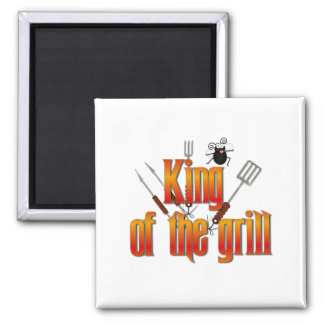 King of the Grill Square Magnet