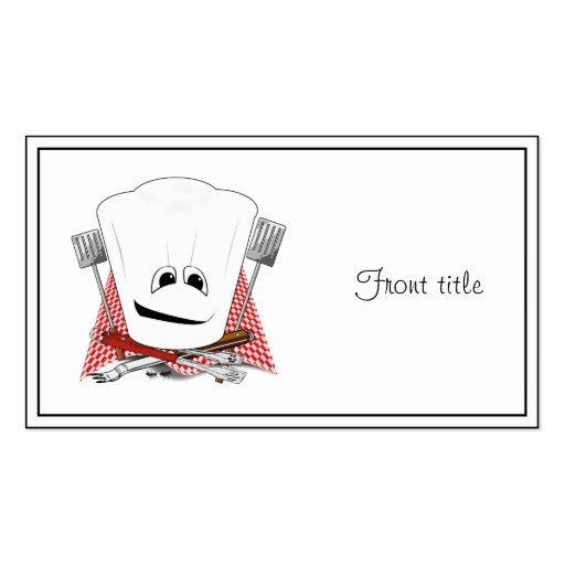 King of the Grill with Chef Hat and BBQ Tools Business Card
