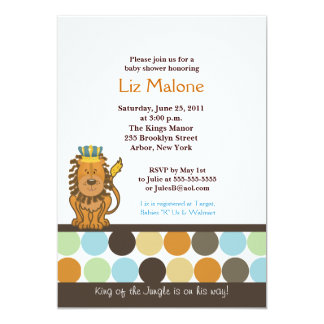 King of the Jungle 5x7 Baby Shower Invitations