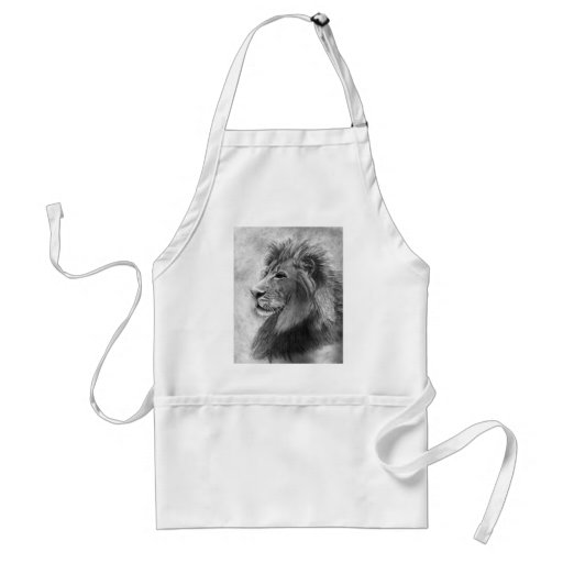 King of the Jungle, Hand drawn Lion in Graphite Aprons
