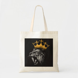 king of the jungle lion tote bag