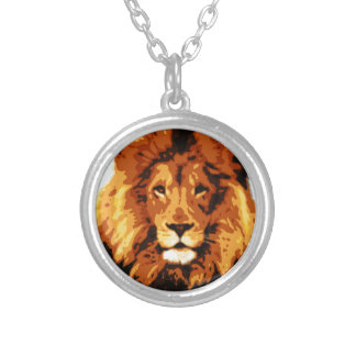 King of the jungle silver plated necklace