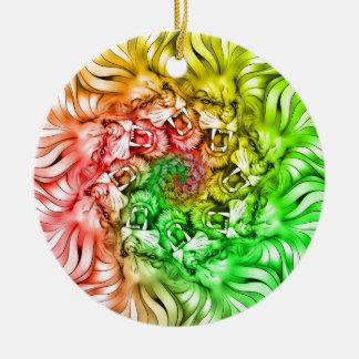 King of the Lion Pride Mandala Circle Rastafarian Ceramic Ornament