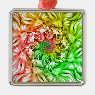 King of the Lion Pride Mandala Circle Rastafarian Metal Ornament