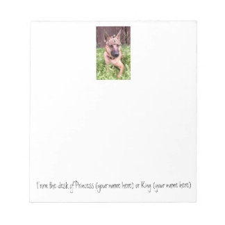 King or Queen Belgian Malinois Shepherd note pad