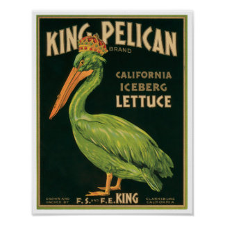 King Pelican Lettuce Vintage Vegetable Label Poster