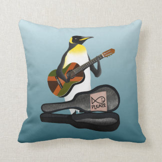 King Penguin Busking Throw Pillow