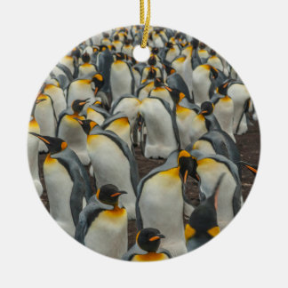 King penguin colony, Falklands Round Ceramic Ornament