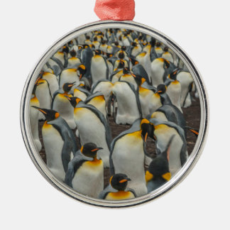 King penguin colony, Falklands Silver-Colored Round Ornament