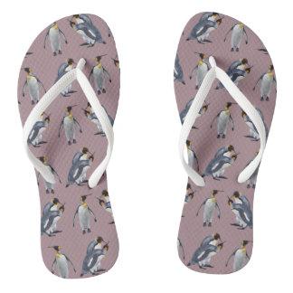 King Penguin Frenzy Flip Flops (Pink)