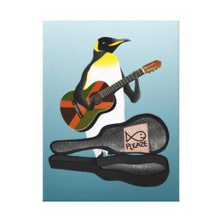 King Penguin Reggae Guitar Canvas Print