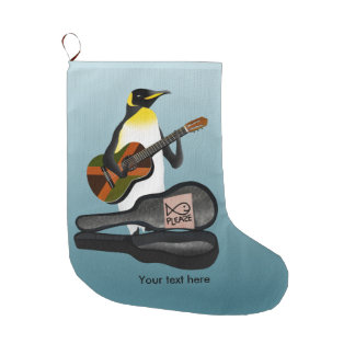 King Penguin Reggae Guitar Large Christmas Stocking