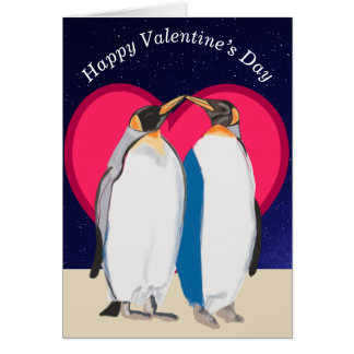 King Penguins and red heart Valentines Card