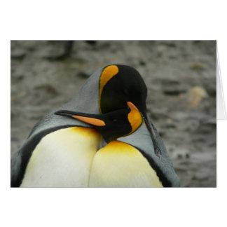 King Penguins Hugging Card