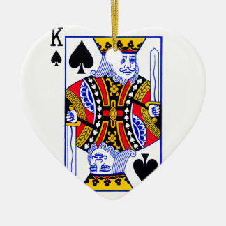 King Playing Card Ceramic Heart Ornament