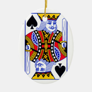 King Playing Card Ceramic Oval Ornament
