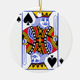 King Playing Card Round Ceramic Ornament