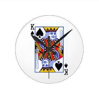King Playing Card Round Clock