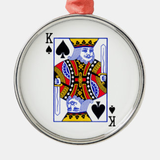 King Playing Card Silver-Colored Round Ornament