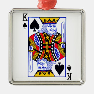 King Playing Card Silver-Colored Square Ornament