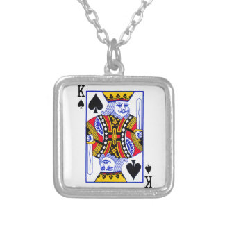 King Playing Card Silver Plated Necklace