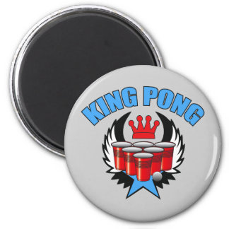 King Pong 2 - Beer Pong 2 Inch Round Magnet