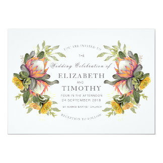 King Protea Bouquet Wedding Invitation