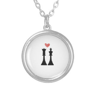 King & Queen Chess Love Silver Plated Necklace