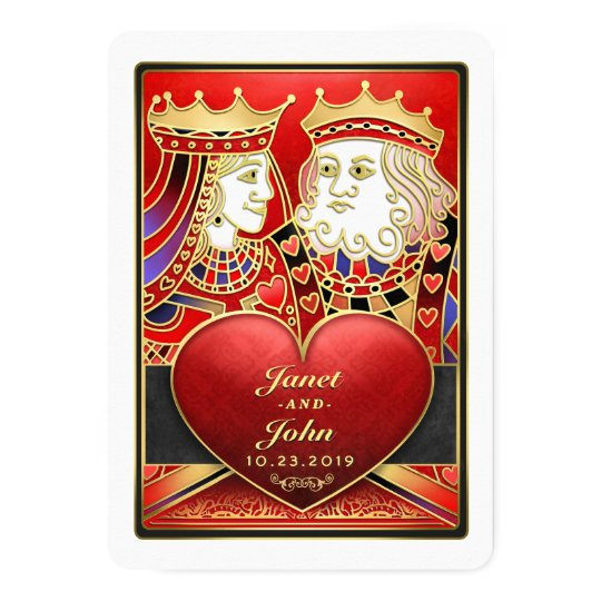 King & Queen Red & Black Vegas Wedding Invite