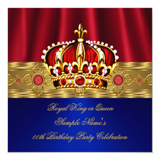 King Queen Red Crown Royal Blue Gold Birthday 4 Card