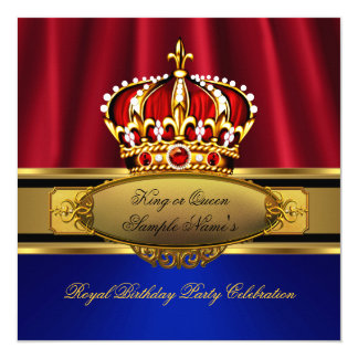 King Queen Red Crown Royal Blue Gold Birthday Card