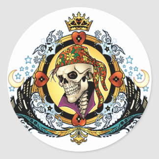 King Skull Pirate with Hearts by Al Rio Classic Round Sticker