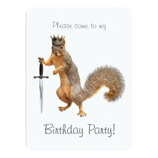 King Squirrel Birthday Party Invitation