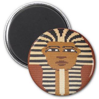King Tut Black Brown Beige Crochet Print on Round Magnet