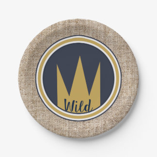King Wild Thing Gold Crown Burlap Birthday Party Paper Plate