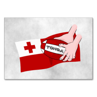 Kingdom of Tonga Rugby Flag Table Card