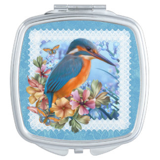 Kingfisher Bird Square Compact Mirror