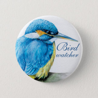 Kingfisher bird watcher button/badge 2 inch round button