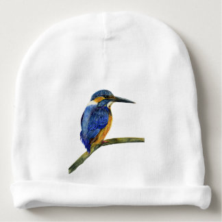 Kingfisher Bird Watercolor Halcyon Bird Baby Beanie