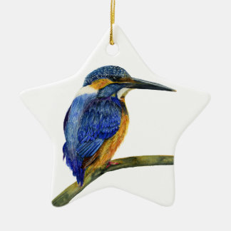 Kingfisher Bird Watercolor Halcyon Bird Ceramic Ornament