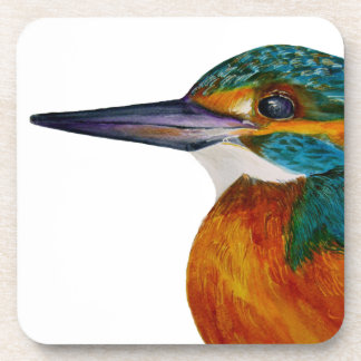 Kingfisher Bird Watercolor Halcyon Bird Coaster