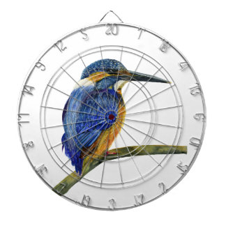Kingfisher Bird Watercolor Halcyon Bird Dartboard