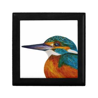 Kingfisher Bird Watercolor Halcyon Bird Keepsake Box