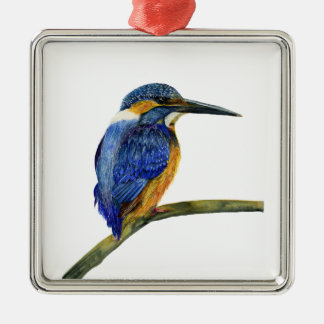 Kingfisher Bird Watercolor Halcyon Bird Metal Ornament