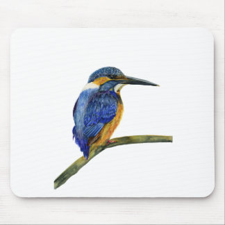 Kingfisher Bird Watercolor Halcyon Bird Mouse Pad