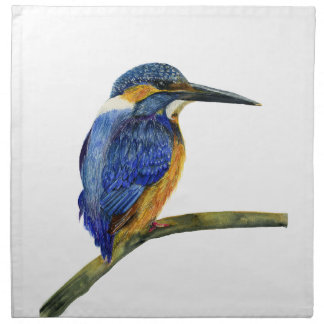Kingfisher Bird Watercolor Halcyon Bird Napkin