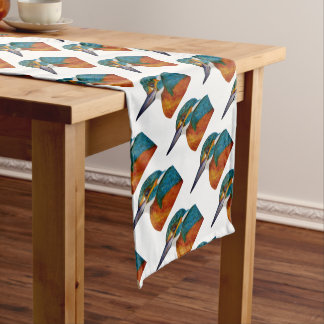 Kingfisher Bird Watercolor Halcyon Bird Short Table Runner