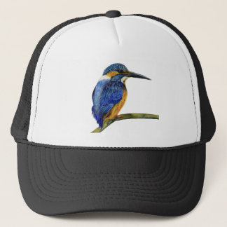 Kingfisher Bird Watercolor Halcyon Bird Trucker Hat