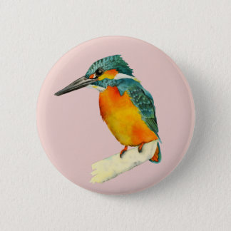 Kingfisher Bird Watercolor Painting 2 Inch Round Button