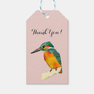 """Kingfisher Bird Watercolor Painting """"Thank You!"""" Gift Tags"""